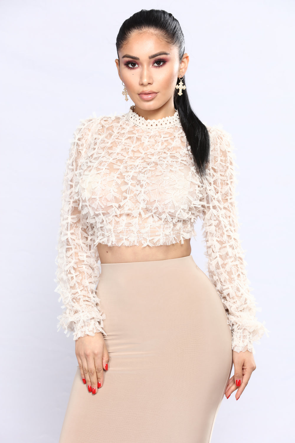 Bolivar Lace Tops - Blush