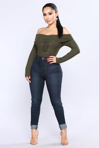 Kara Off The Shoulder Top - Olive