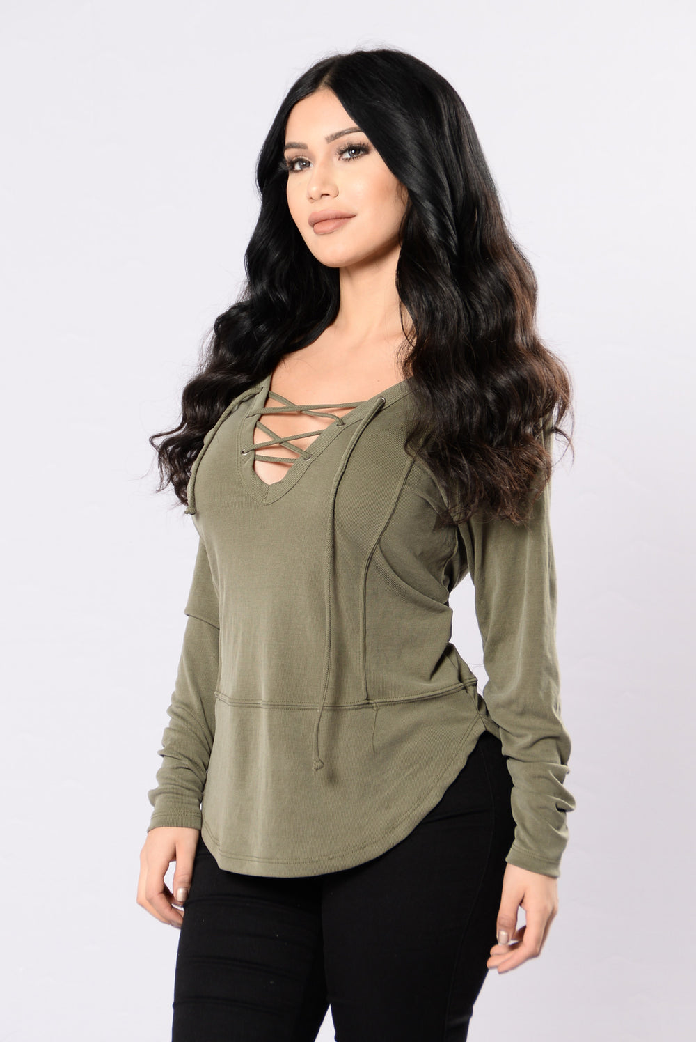 All Laced Up Top - Olive