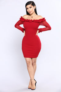 Thalia Ruffle Dress - Burgundy