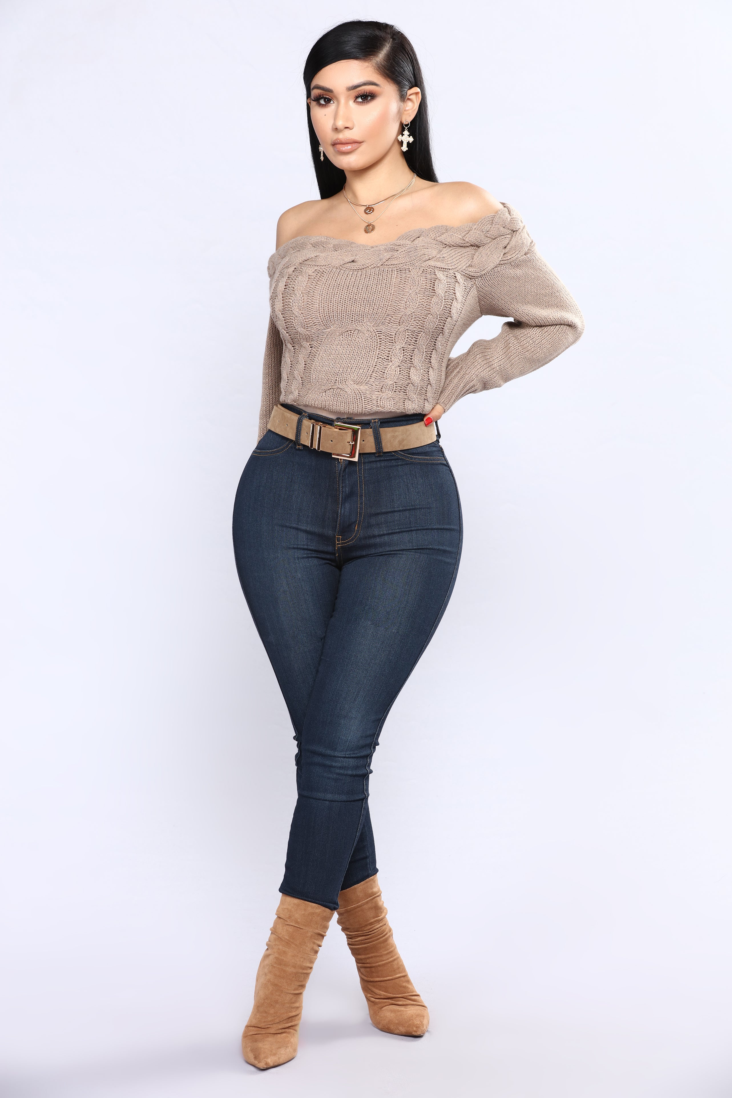 Knitted Tight Off Shoulder Sweater - Mocha b6ba872ab