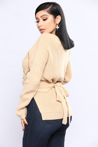 Wrap Me Up In Your Love Sweater - Taupe