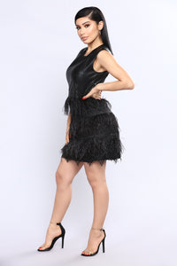 Feather Feelz Dress - Black