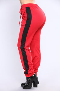 Ridin Shotgun Stripe Joggers - Red/Black