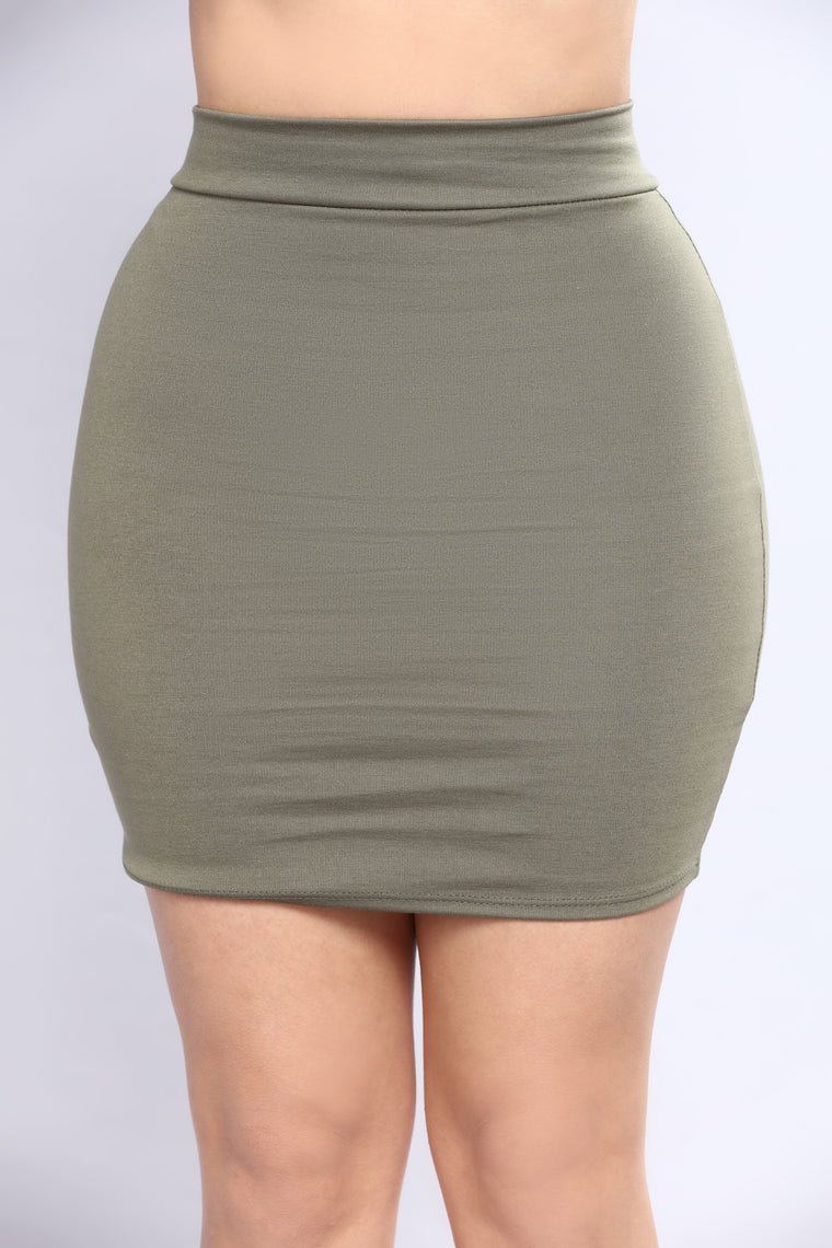 Trying To See You Mini Skirt - Olive