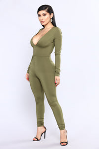 All The Power Jumpsuit - Olive Angle 3