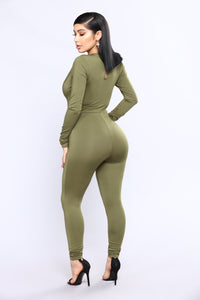 All The Power Jumpsuit - Olive Angle 4
