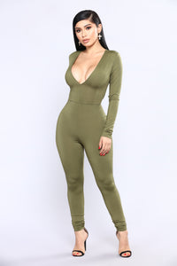 All The Power Jumpsuit - Olive Angle 1