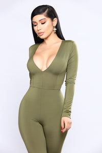 All The Power Jumpsuit - Olive Angle 2