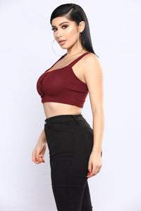 Mixed Bizzness Ribbed Tank Top - Burgundy