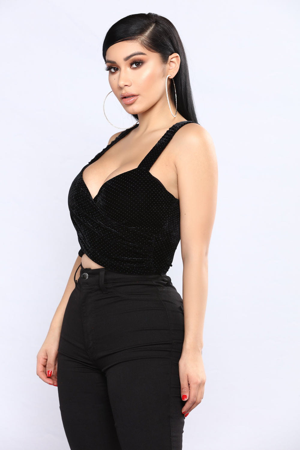 My Heart Goes Velvet Crop Top - Black