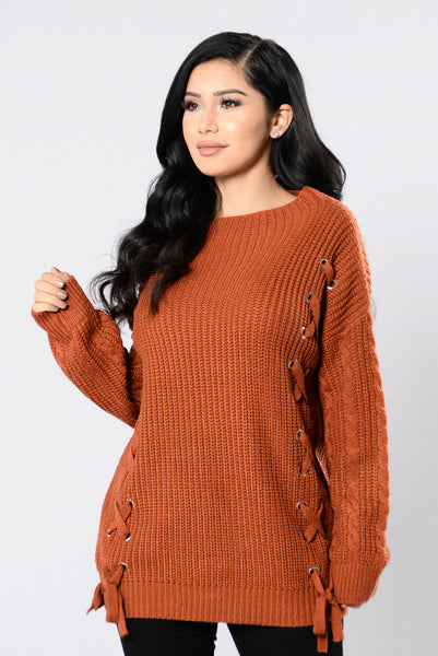 Mixing It Up Sweater - Brick