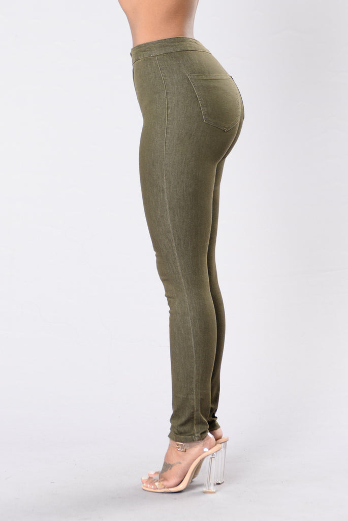 Too Bad For You Jeans - Olive