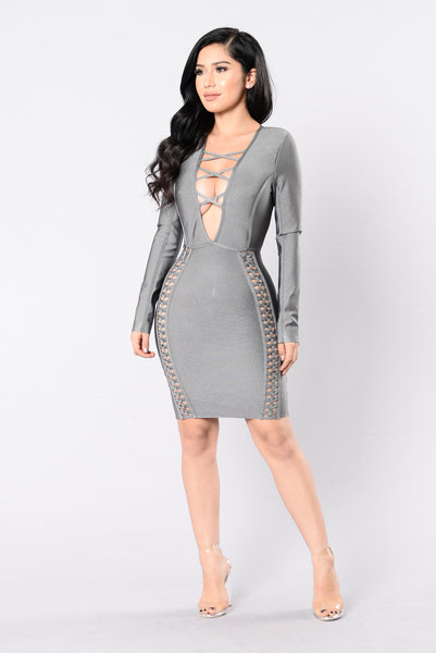 Unapologetic Bandage Dress - Grey