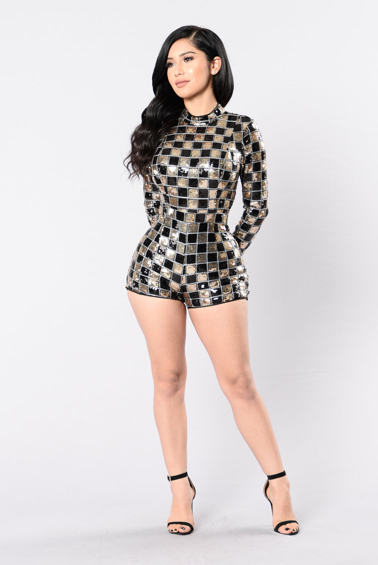 Hardly Invisible Romper - Black/Gold