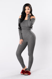 Lift Off Jumpsuit - Charcoal Angle 1
