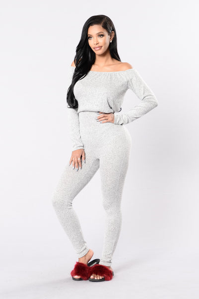 Lift Off Jumpsuit - Heather Grey