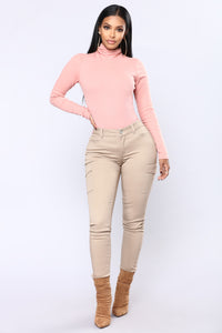 Harper Turtle Neck Top - Mauve Angle 2