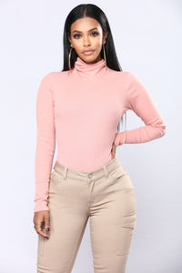 Harper Turtle Neck Top - Mauve Angle 1