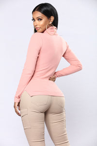 Harper Turtle Neck Top - Mauve Angle 3