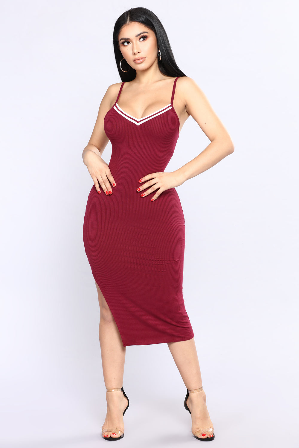 Game 7 Ribbed Dress - Wine