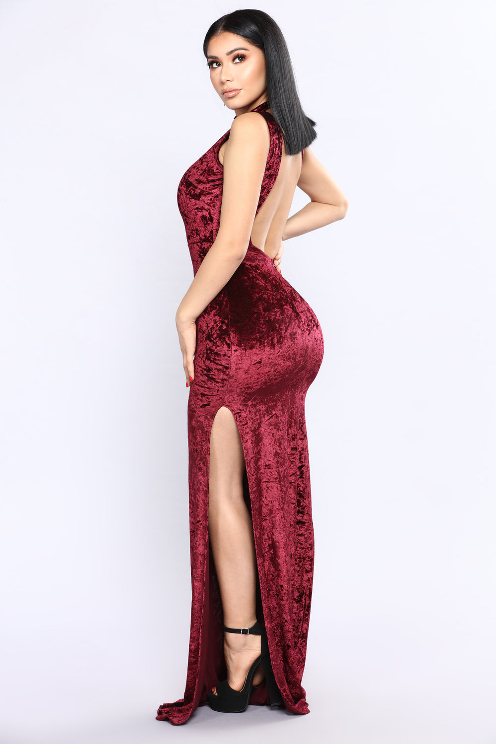 As Long As You Love Me Velvet Dress - Wine