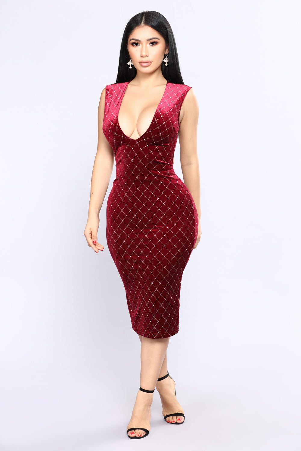 That Spark Velvet Dress - Burgundy