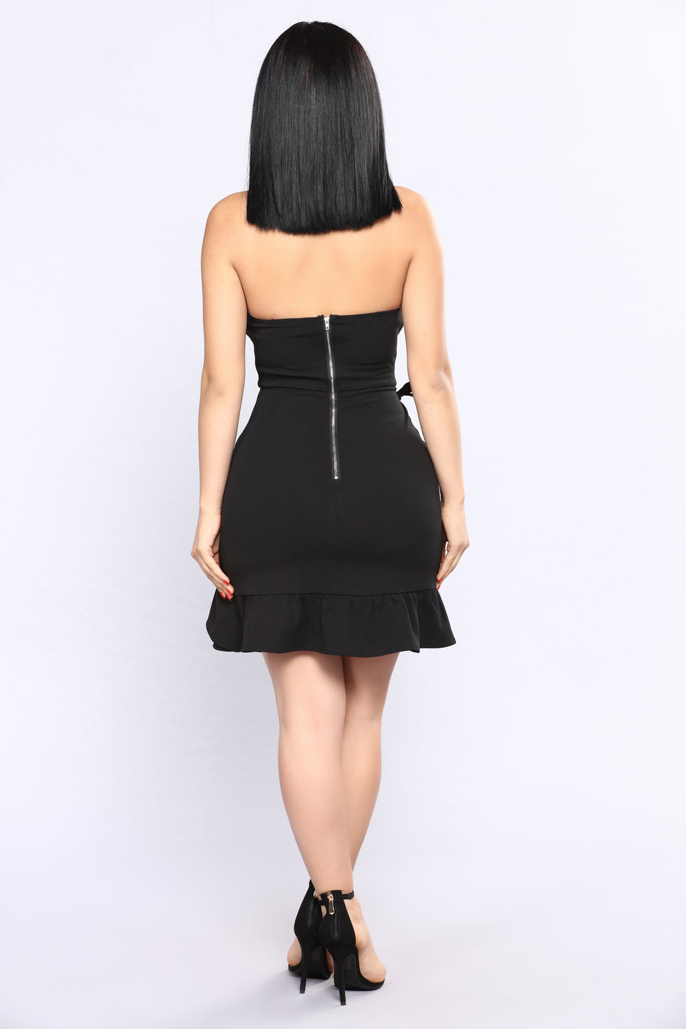 Places To Be Ruffle Dress - Black