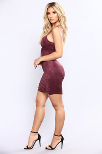 She's Wired Suede Dress - Plum
