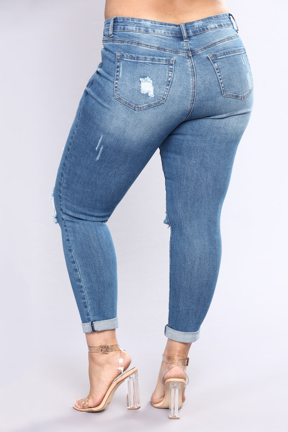 Kneed You Now Skinny Jeans - Medium Blue Wash