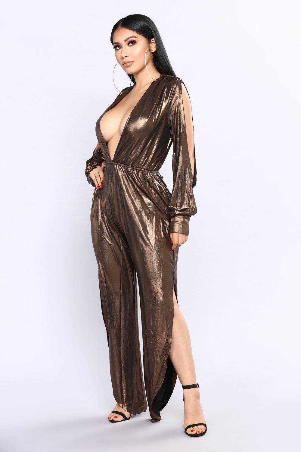 Gold Throne Metallic Jumpsuit - Bronze