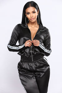 A Real One Satin Set - Black