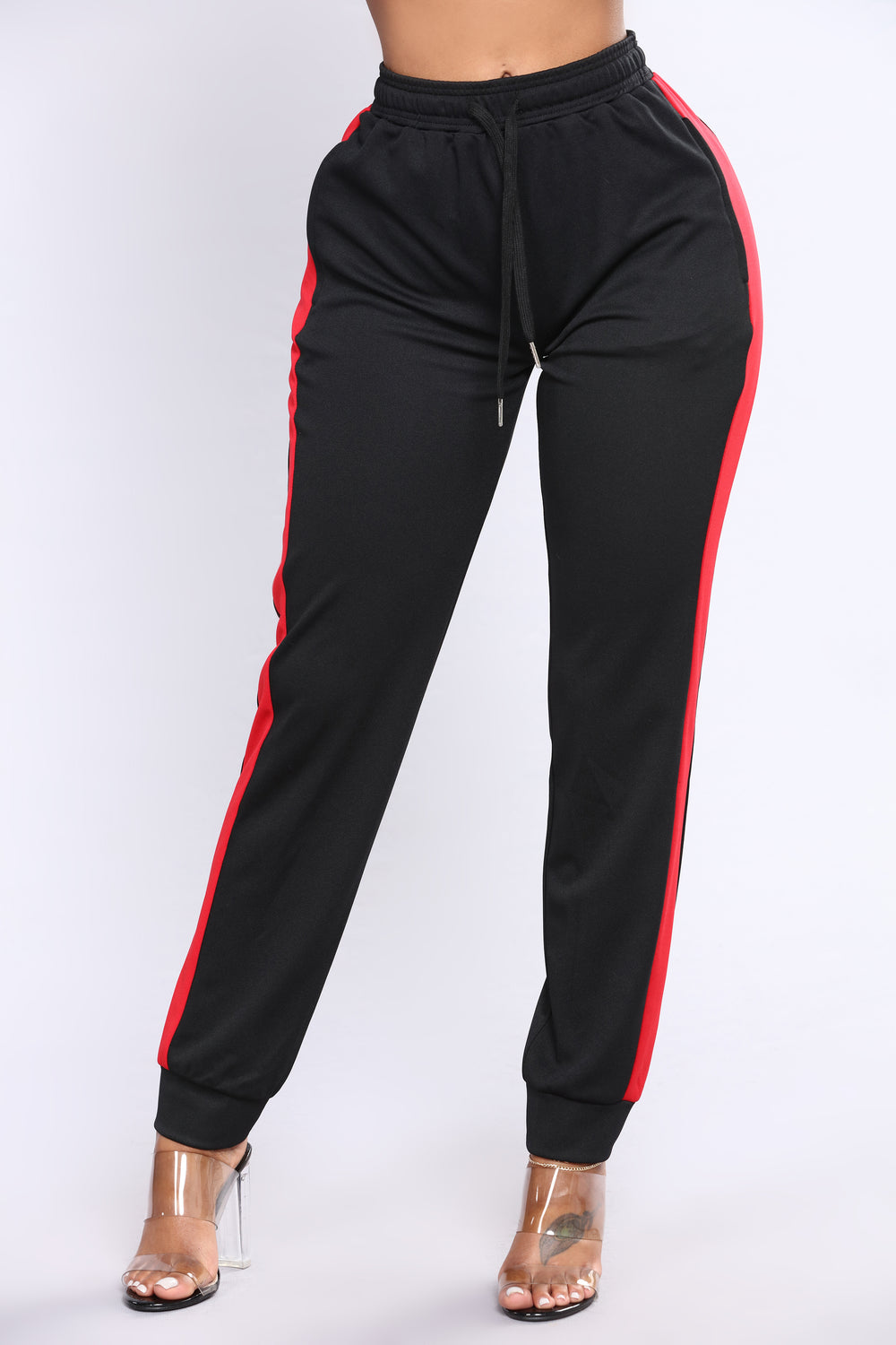 Ridin Shotgun Stripe Joggers - Black/Red