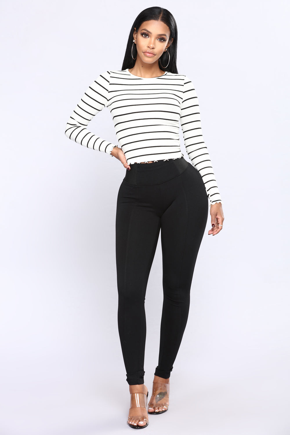 Bring It All Back Striped Top - White/Black