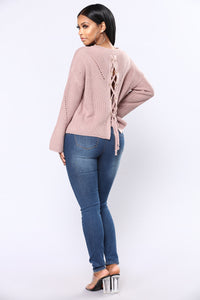 Yamila Lace Up Sweater - Mauve