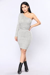 Latte Fun Dress - Heather Grey/Gold