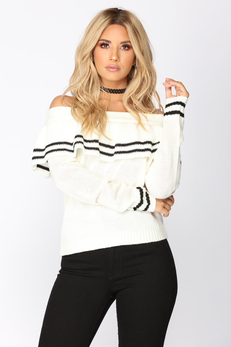 Schooling The Stripes Sweater - Ivory/Black