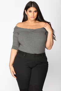You And I Off Shoulder Bodysuit - Grey