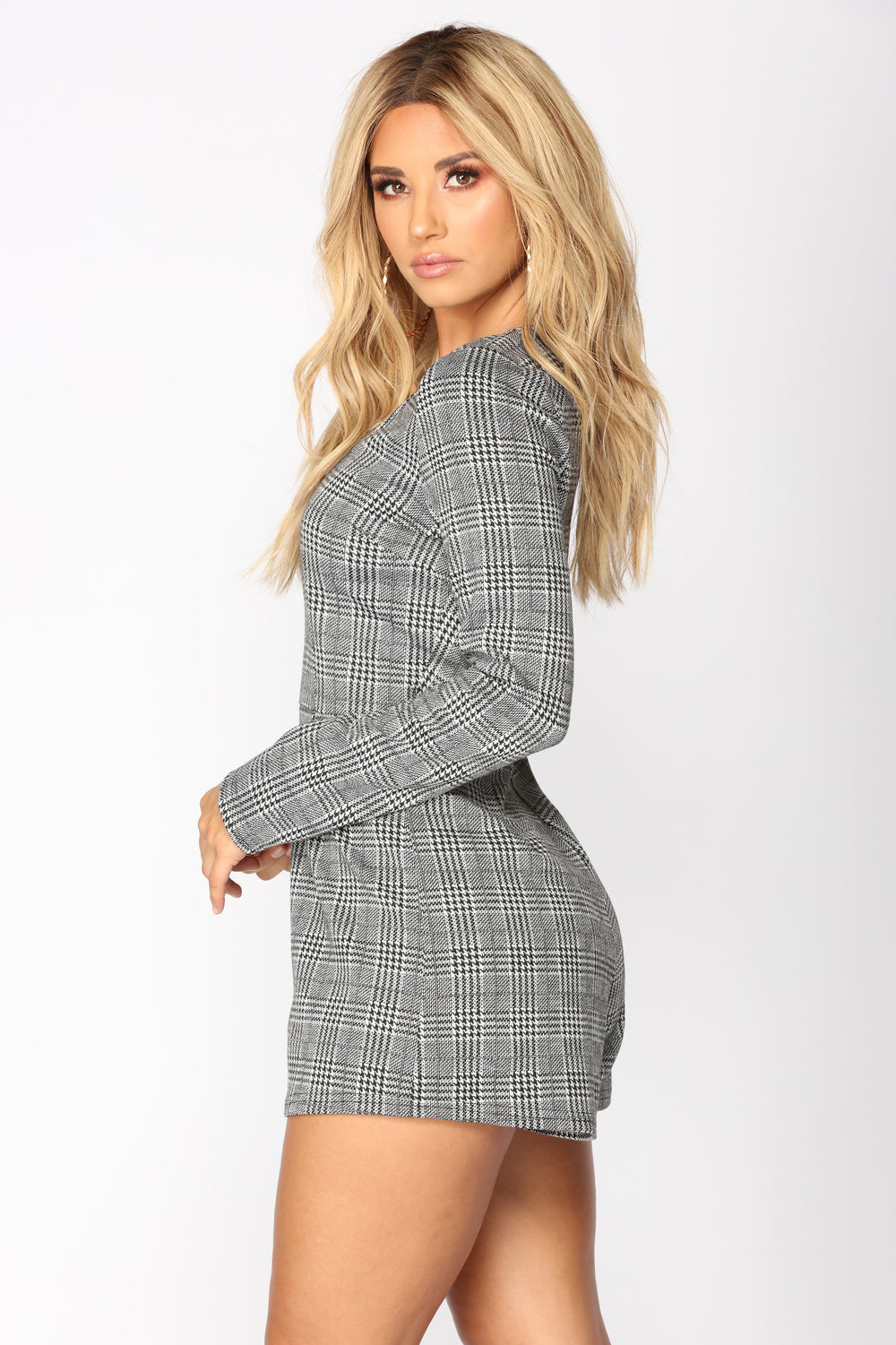 Self Employed Houndstooth Romper - Black