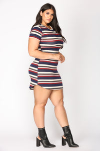 Stripes Please Mini Dress - Navy/Red