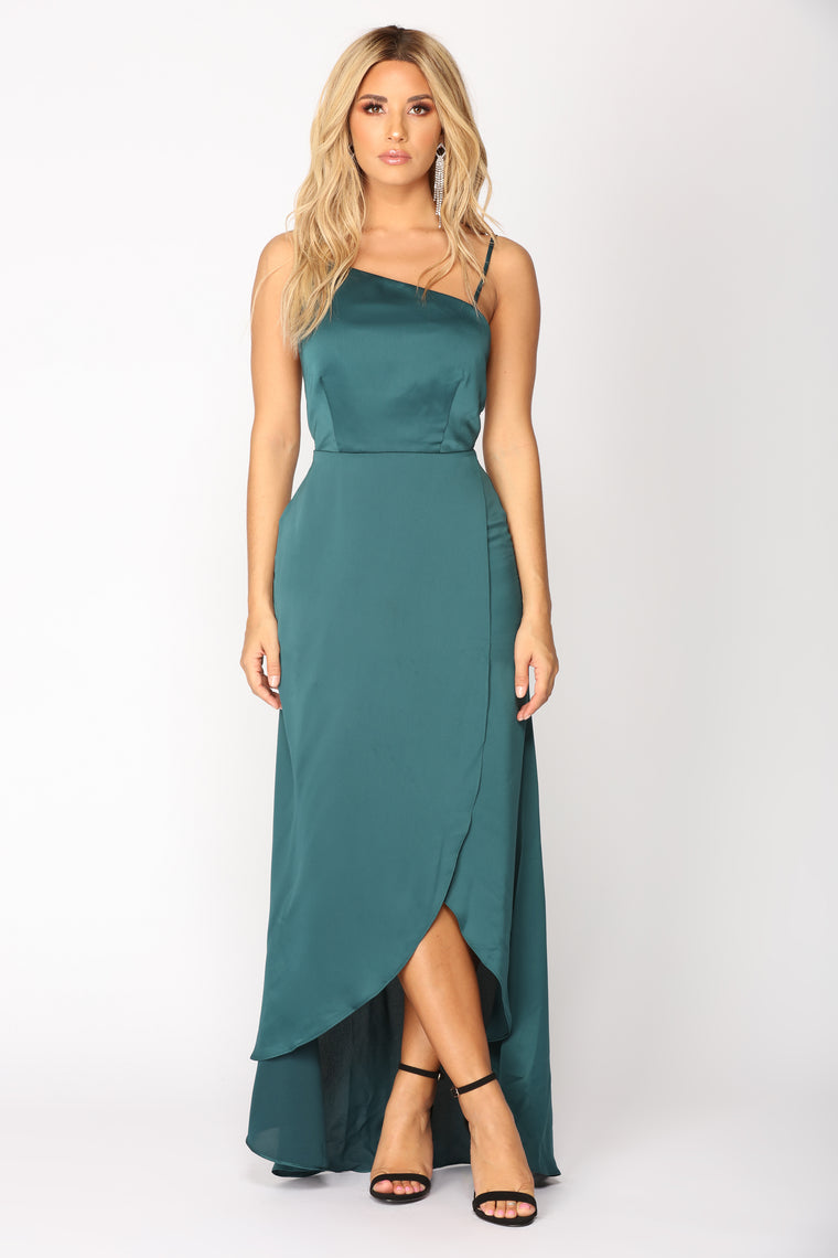Festivity Asymmetric Dress - Hunter Green