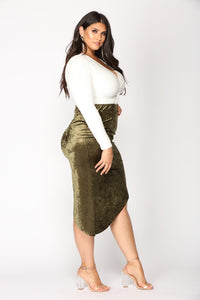 Just A Crush Skirt - Olive Angle 10