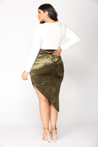 Just A Crush Skirt - Olive Angle 12