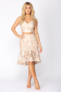 Floral Fresh Lace Set - Champagne