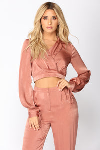 Let Your Love Flow Satin Set - Mauve