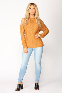 Krissy Cold Shoulder Sweater - Camel