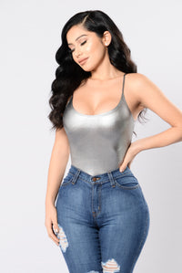 Plain And Simple Bodysuit - Silver Angle 1