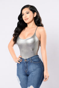 Plain And Simple Bodysuit - Silver Angle 3
