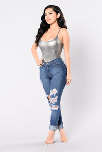 Plain And Simple Bodysuit - Silver Angle 6