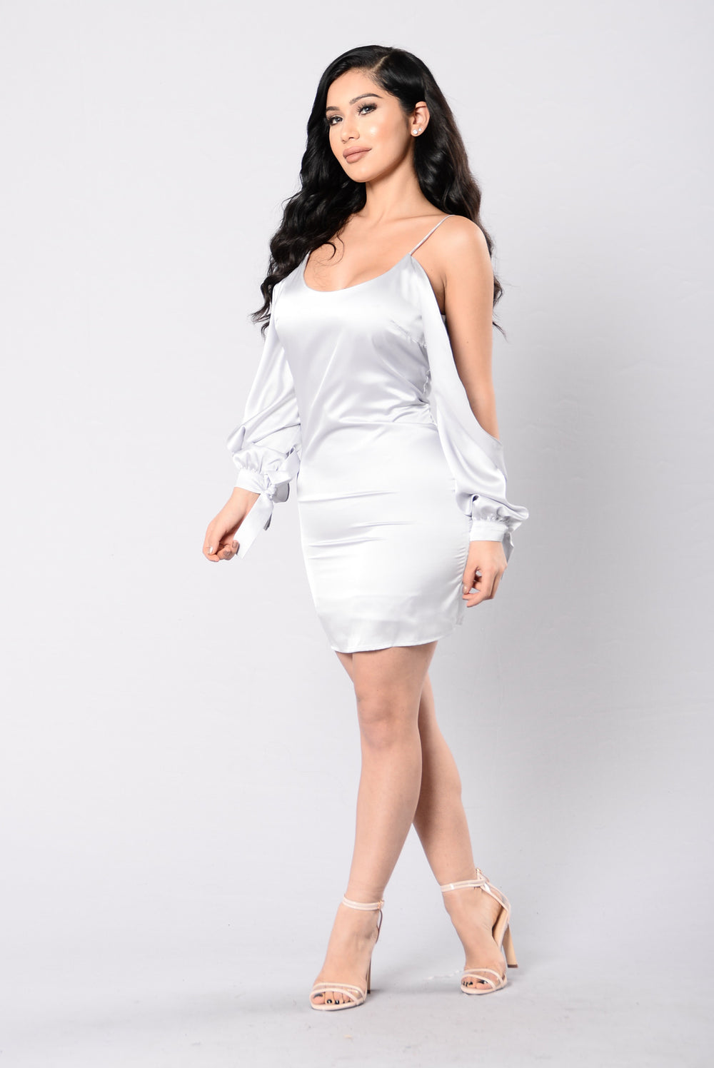 Slit Slip Dress - Silver